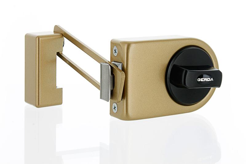 N200 Rim Lock With Door Limiter   Golden